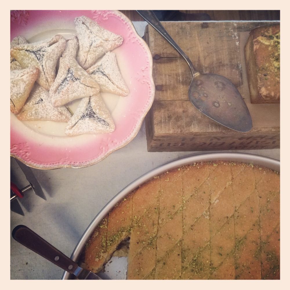 Poppy seed hamantashen and our semolina cake