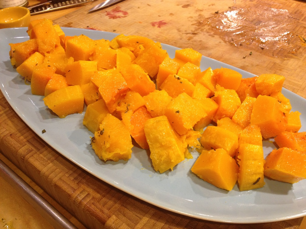 Constructing the butternut squash salad