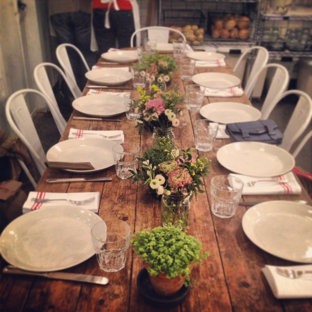 This beautiful spring table setting is the perfect way to enjoy all the food we cooked