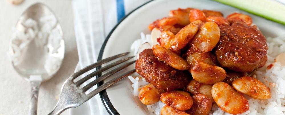 Chicken Patties & Lima Beans In Harissa Sauce