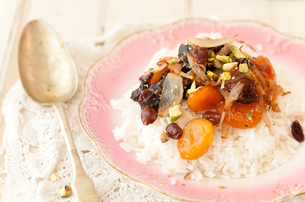 Tanzeya, Caramelized Onions And Pistachios Over White Rice