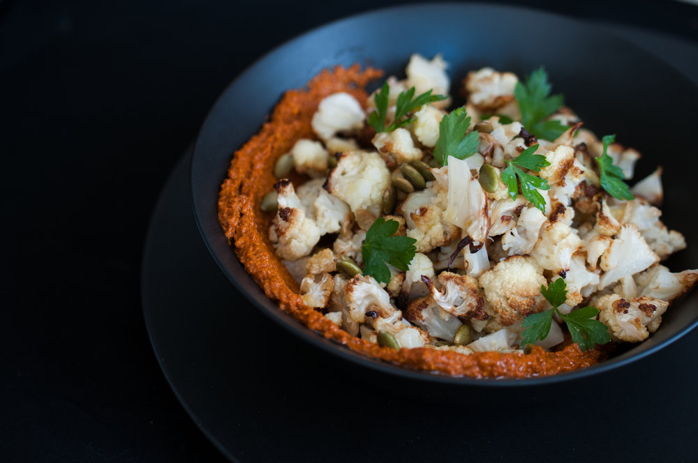 Roasted Cauliflower with Harissa Romesco