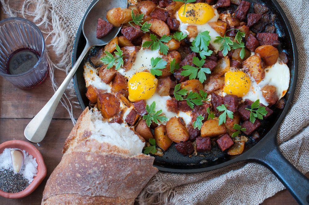 Skillet Salami & Potatoes Shakshuka