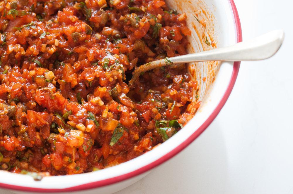 Tomato, Celery and Caper Salad
