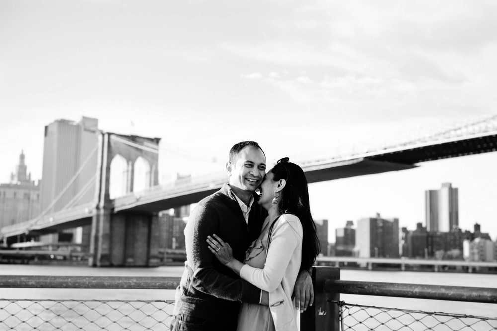 couple were keen in doing their engagement photography in brooklyn bridge park, dumbo area & brooklyn bridge because of their sentimental values with location. We were able to capture geniune emotion