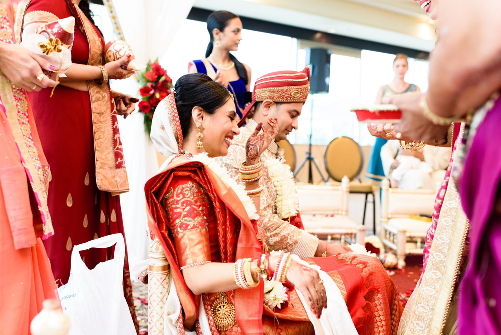 Indian weddings are known for their vibrant colors and multi day events. The ceremony was held indoors at the Sheraton Mahwah in NJ The wedding was originally scheduled to be an outdoor wedding.