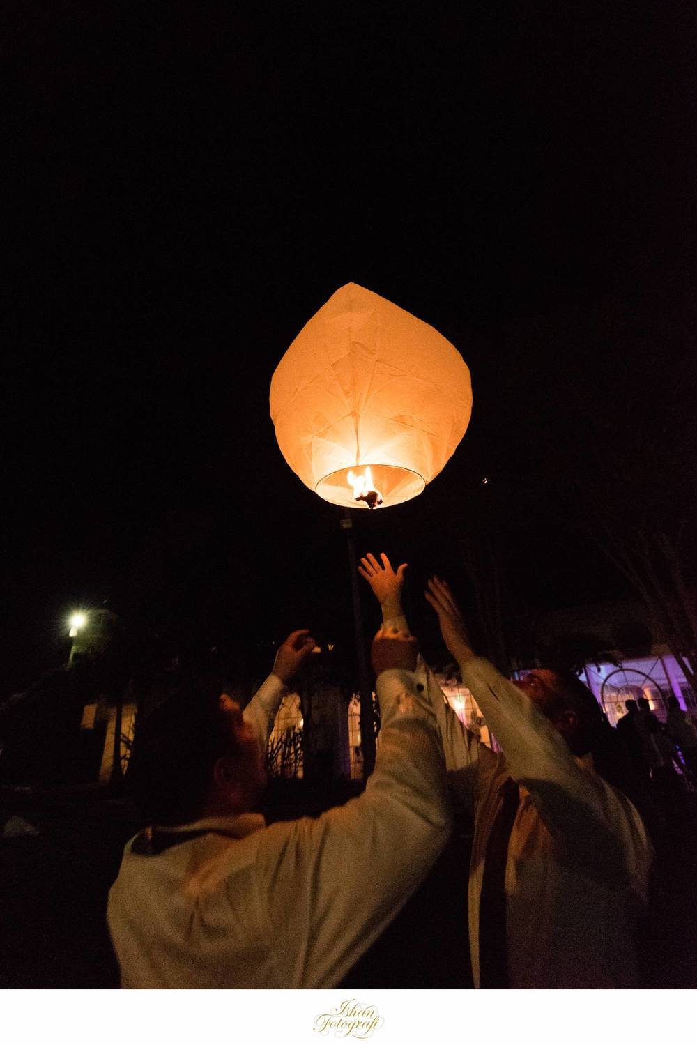 Sky lanterns to wrap up the night.