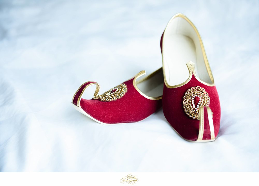 Groom's shoes. Our bride matched the groom's shoes with her bridal lengha.