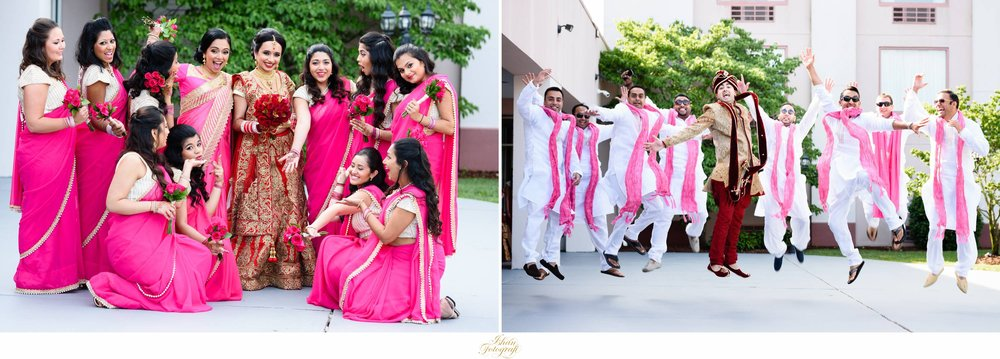 A large but very energetic bridal party is a must for any wedding. The bridal party were wearing a traditional saree.