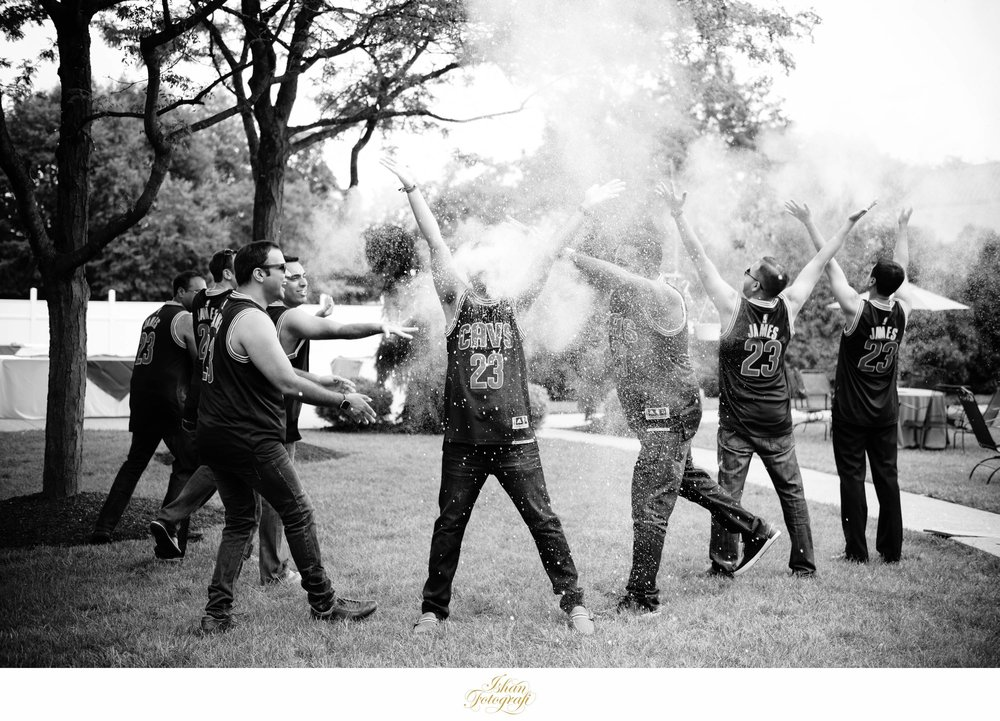 The Groom mimics the LeBron James chalk toss.