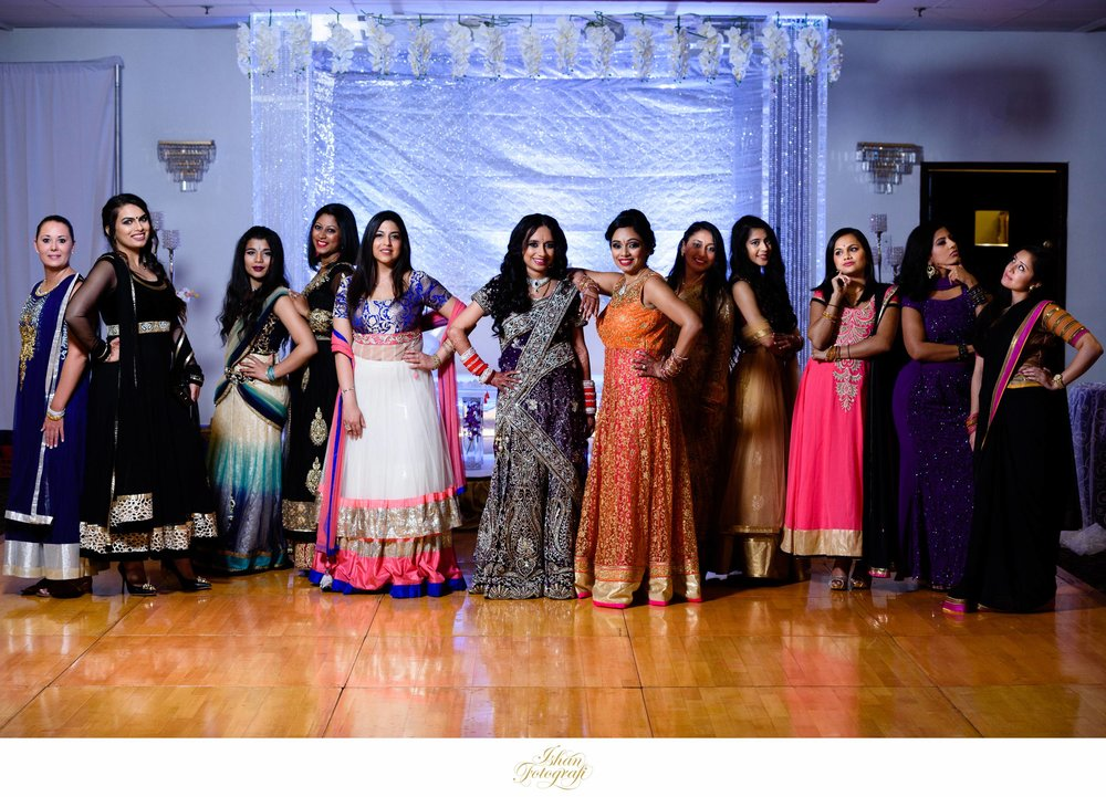 Indian Bridal party posing before the reception.