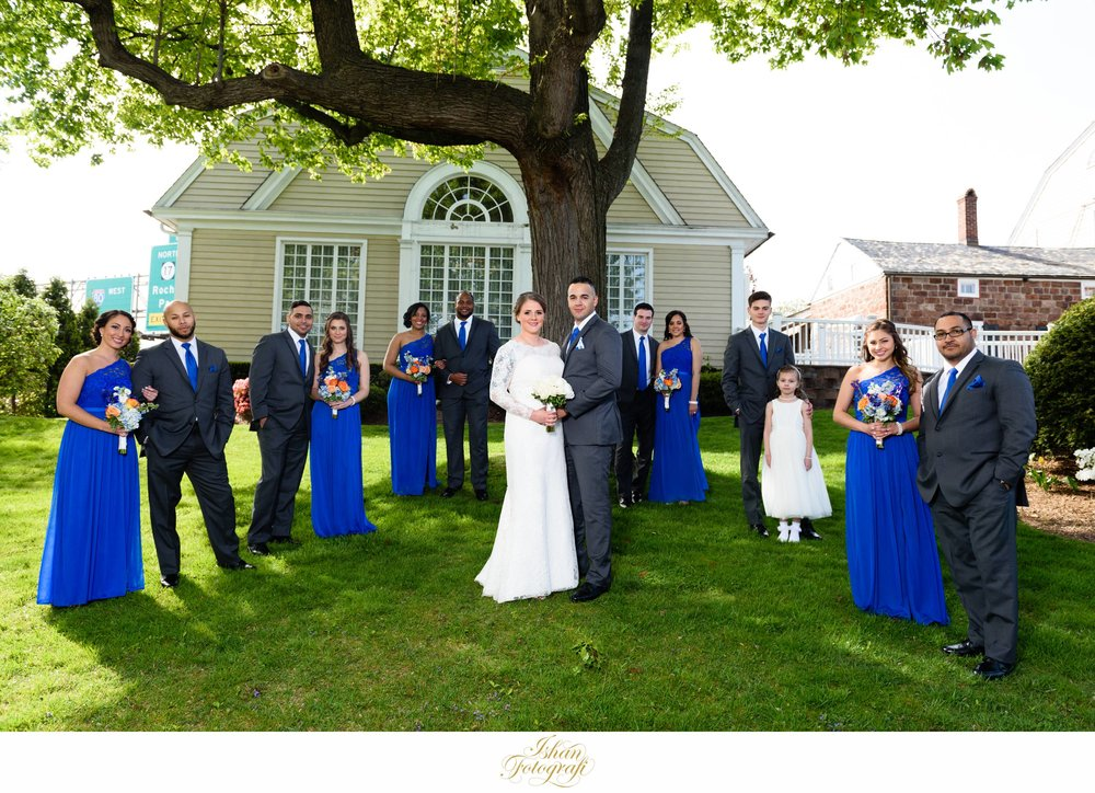 The bridesmaids wore stunning cobalt blue gowns. This complimented Stony Hill Inn's modern and slightly rustic look very pleasantly. The groomsmen complimented it with their cobalt blue ties and pocket squares.