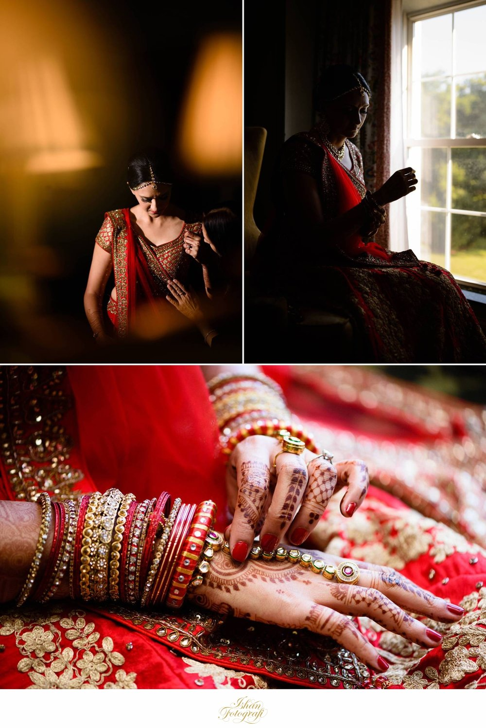 Our bride getting ready. The details, colors, henna, traditional jewelry; we can spend hours on end photographing it.