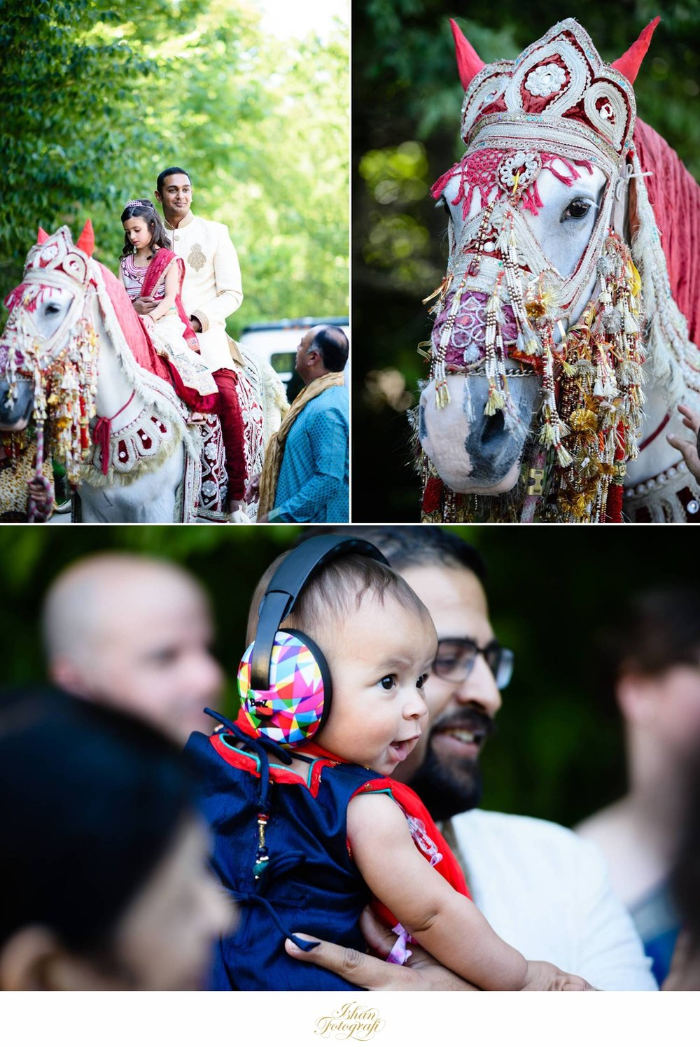 Indian baraat typically have a horse which is ridden by the groom to be. Elephants are another choice of animals used during baraat
