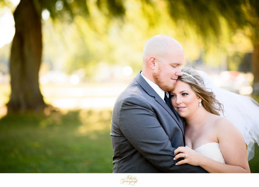 The late afternoon sunlight bathed the entire landscape of Donahue memorial park in a soft gold color.  Those willow trees looked stunning and made for a perfect backdrop! This park was such a great find by our bride! We headed to Anthony's Pier 9 in New Windsor, NY after we were done photographing our bride and groom along with the bridal party.