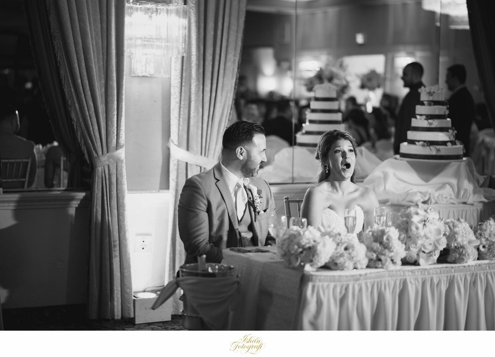 When the best man drops the ball on the groom during the toast! We love that reaction from our bride.