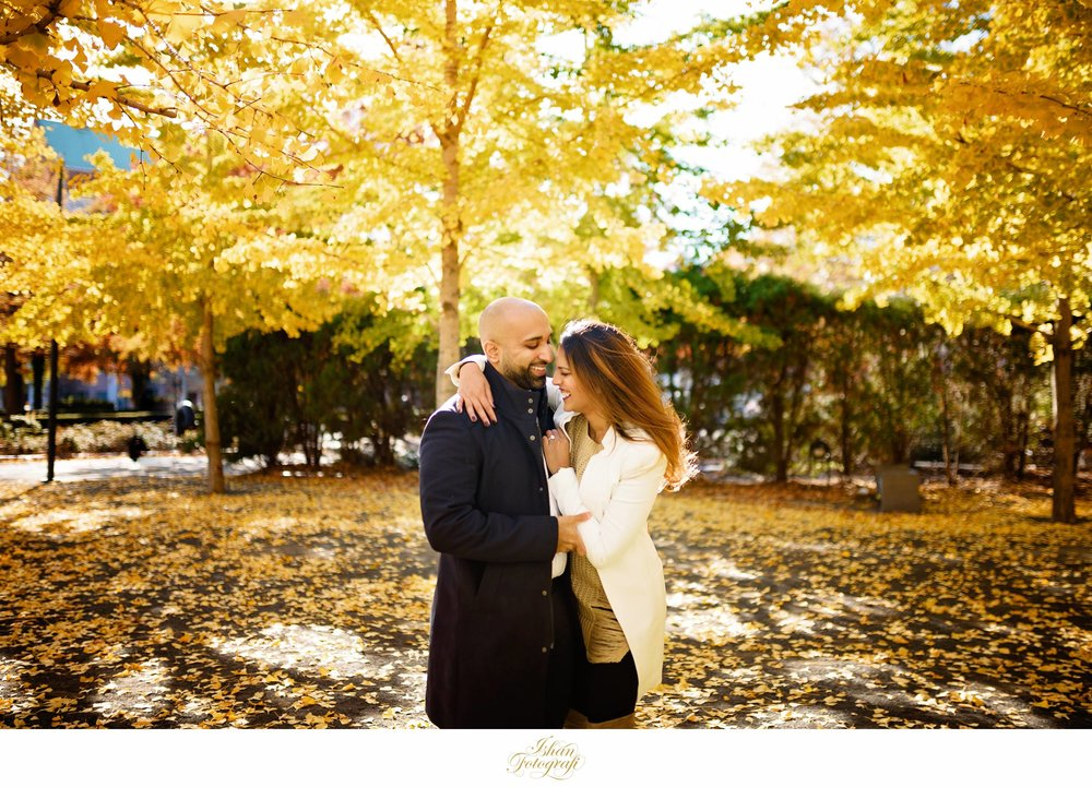 We had a prolonged fall in 2017 and there were still some trees with great foliage on them. Jay & Shalini are very easy going people and photographing them was such a pleasure. Part of our philosophy is to invest time and energy knowing our clients on a personal level. Making our clients comfortable in front of the camera is paramount to us.