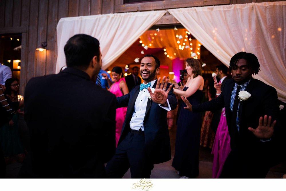 groom-dancing-wedding-reception-Claxton-farm-NC