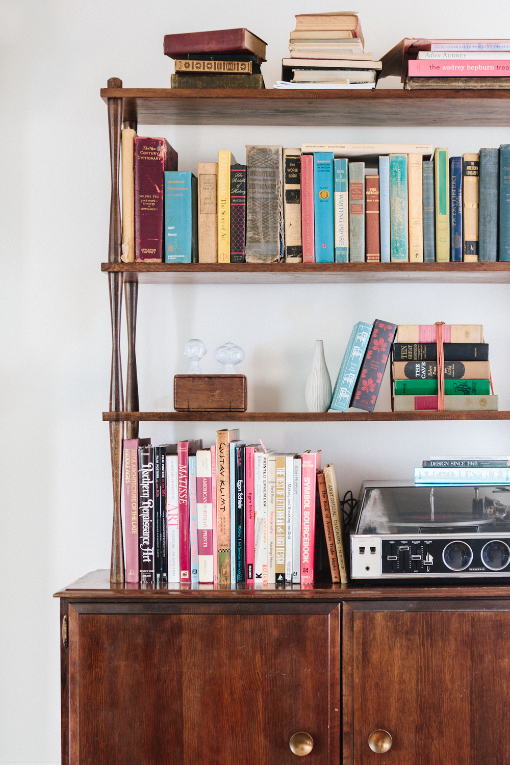 The Vintage Bookshelf Was A Thrift Store Find Shelves Hold Jesses Collection Of Design Books And His Record Player As Well Kates History