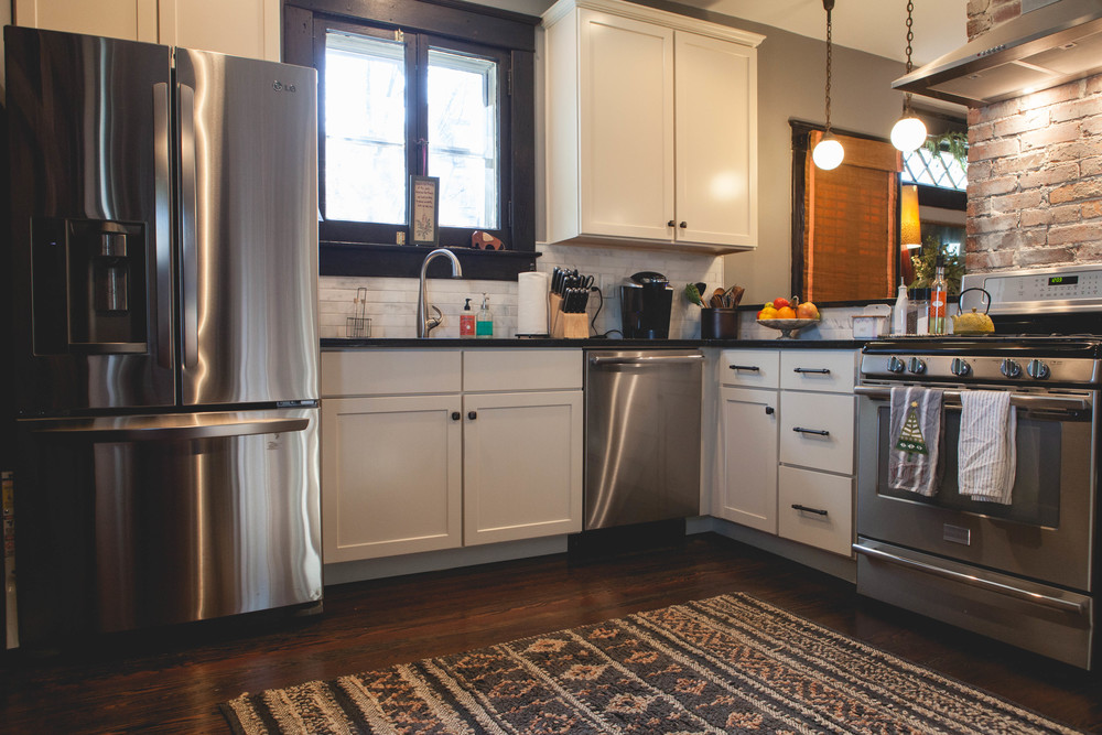 We spend a lot of time in the kitchen when friends are over. We both are drawn to kitchens in most houses. I cook a lot, so I love that it's open and cozy at the same time.