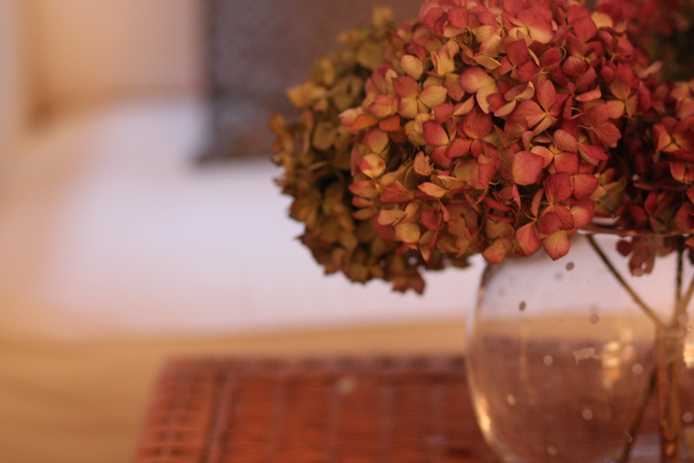 The vase with the dried hydrangeas was given to me (Kendall) by one of my friends who passed away
