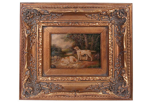 Oil On Wood Painting In Gilt Frame Brickmortar