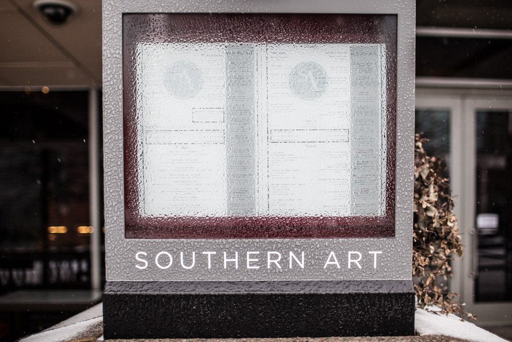 The Southern Art menu is not decipherable under the ice/freezing rain.
