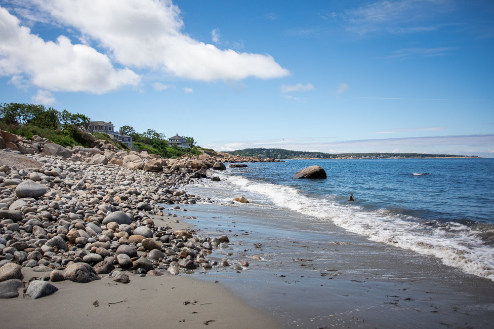 Views from Old Garden Beach toward the center of Rockport, MA.