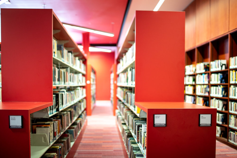 The red colors in this section of the library really stood out.