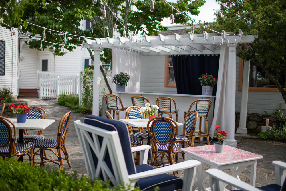 Outdoor patio of the Kennebunkport Inn looks incredibly inviting.