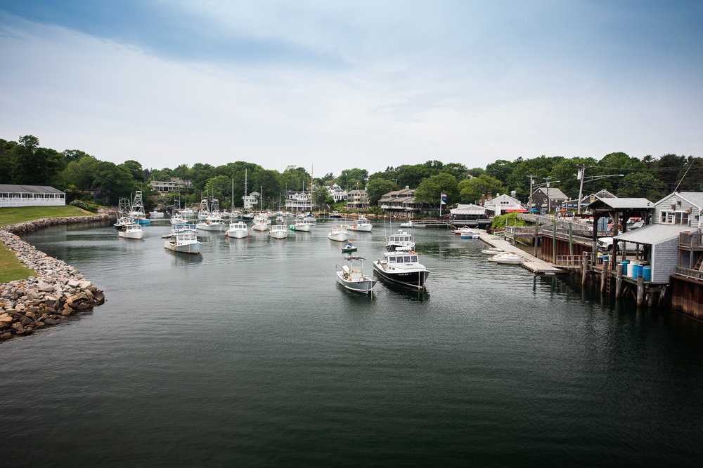 View from Perkins Cove drawbridge toward Ogunquit (looking Northwest).