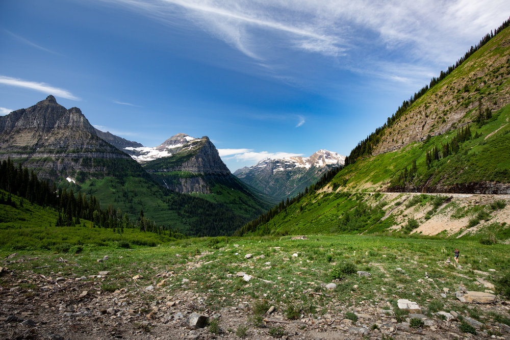 Passing near the continental divide in Glacier National Park.