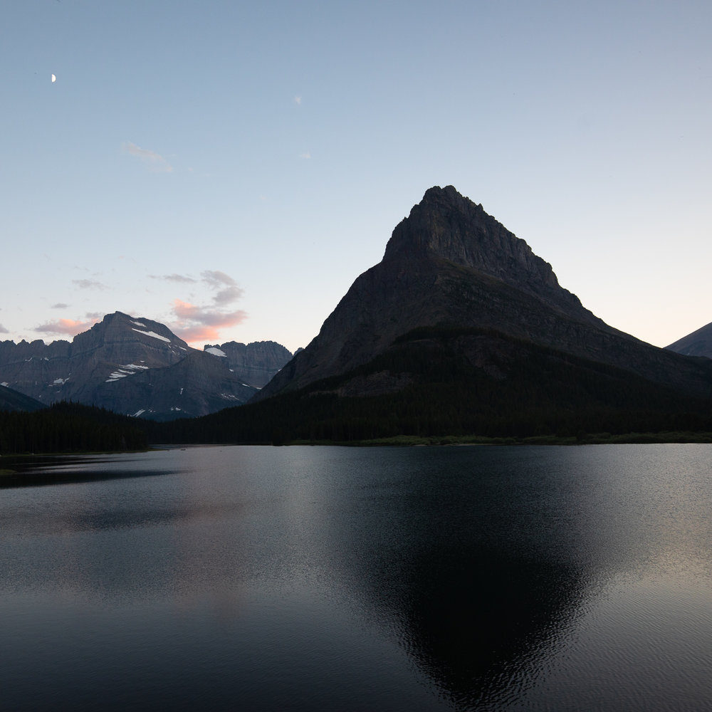 Last light over Swiftcurrent Lake and Mount Grinnell.