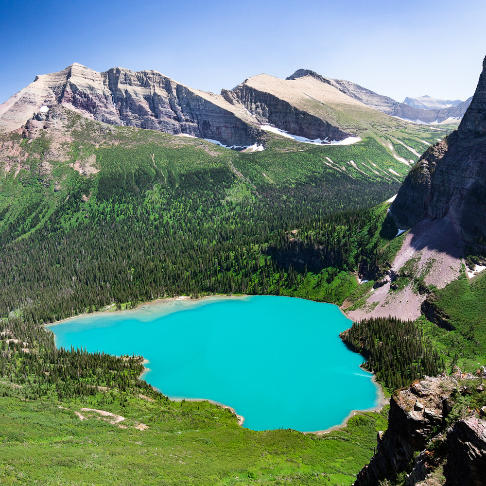 Deep turquoise color of Grinnell Lake.
