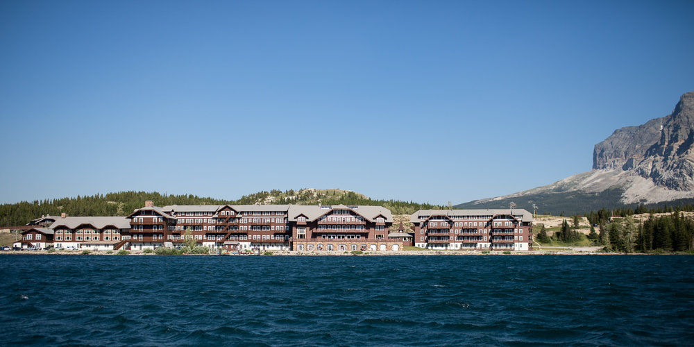 Many Glacier Hotel as seen from aboard the Chief Two Guns.