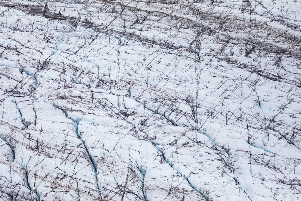 Detail of a glacier. Note the numerous crevasses.