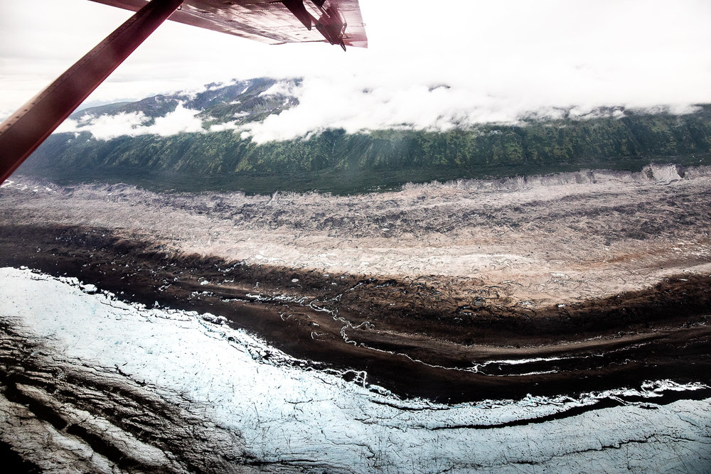 Another perspective of flying over a glacier.