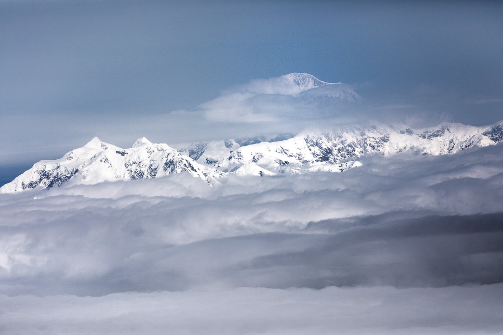 View of Denali (formerly Mt. McKinley). The peak of Denali is 20,310 feet (6,190 m) above sea level.