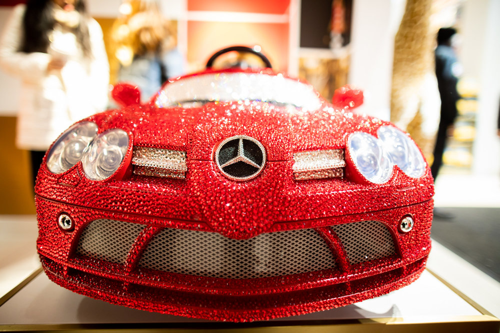 FAO Schwarz branded Mercedes-Benz toy car. Price of admission: 25,000 USD.