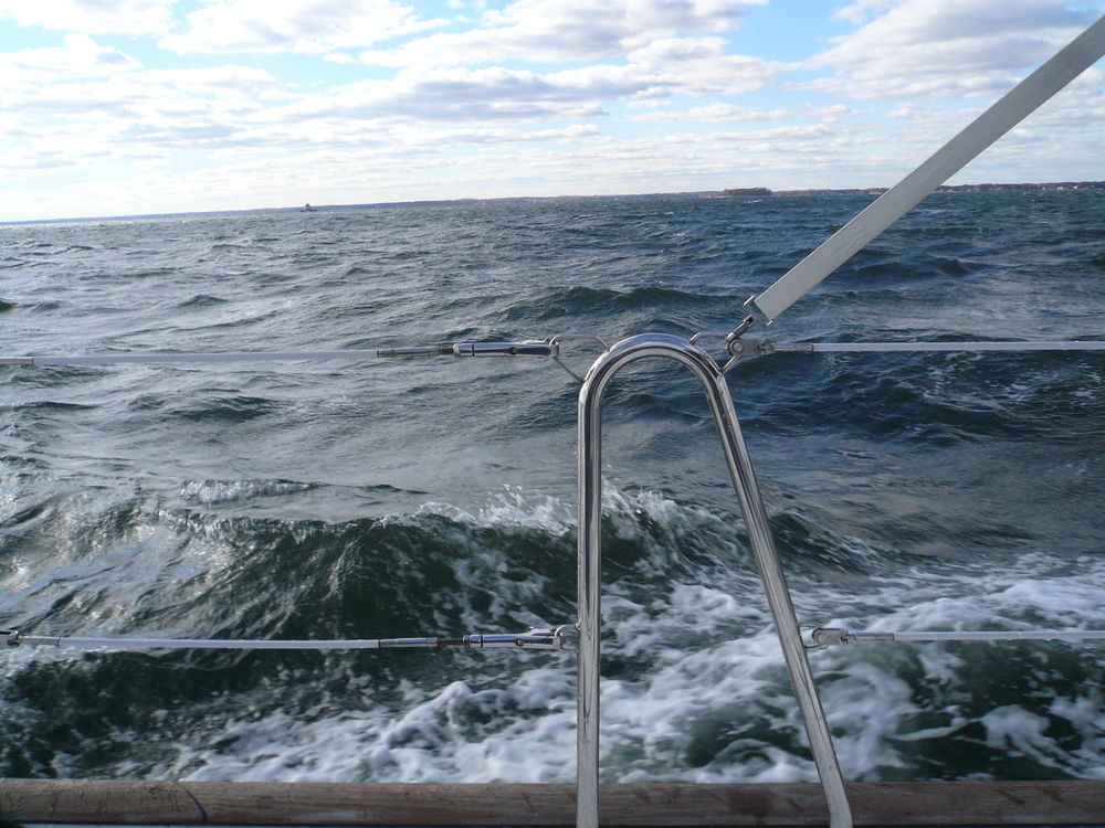 Middle of the Bay and wondering why I took possession on such a windy day. Um, I own a sailboat...