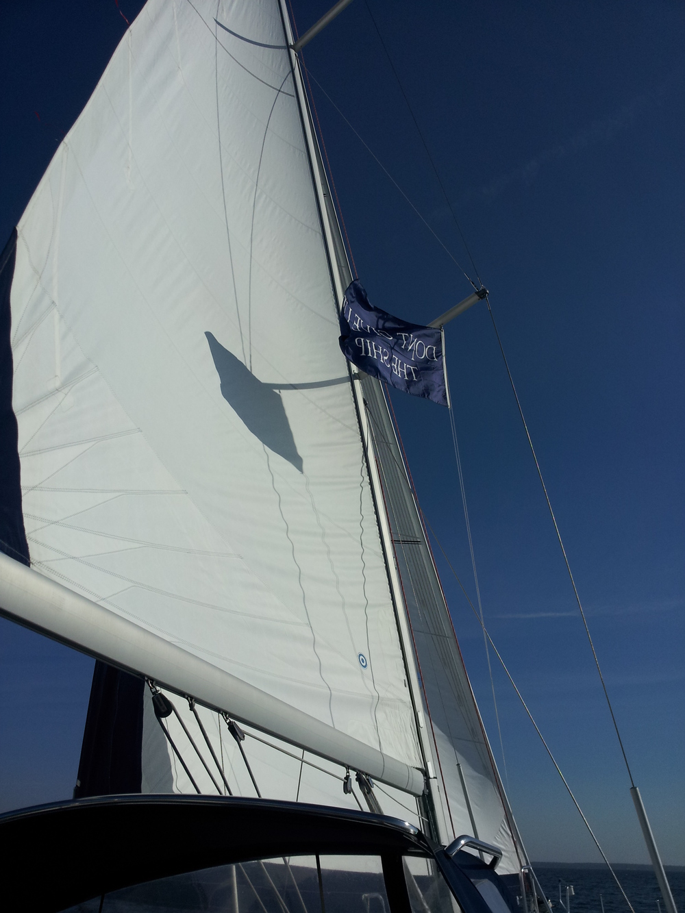 Main sail on a very good day (minus the not exactly proper flag etiquette).