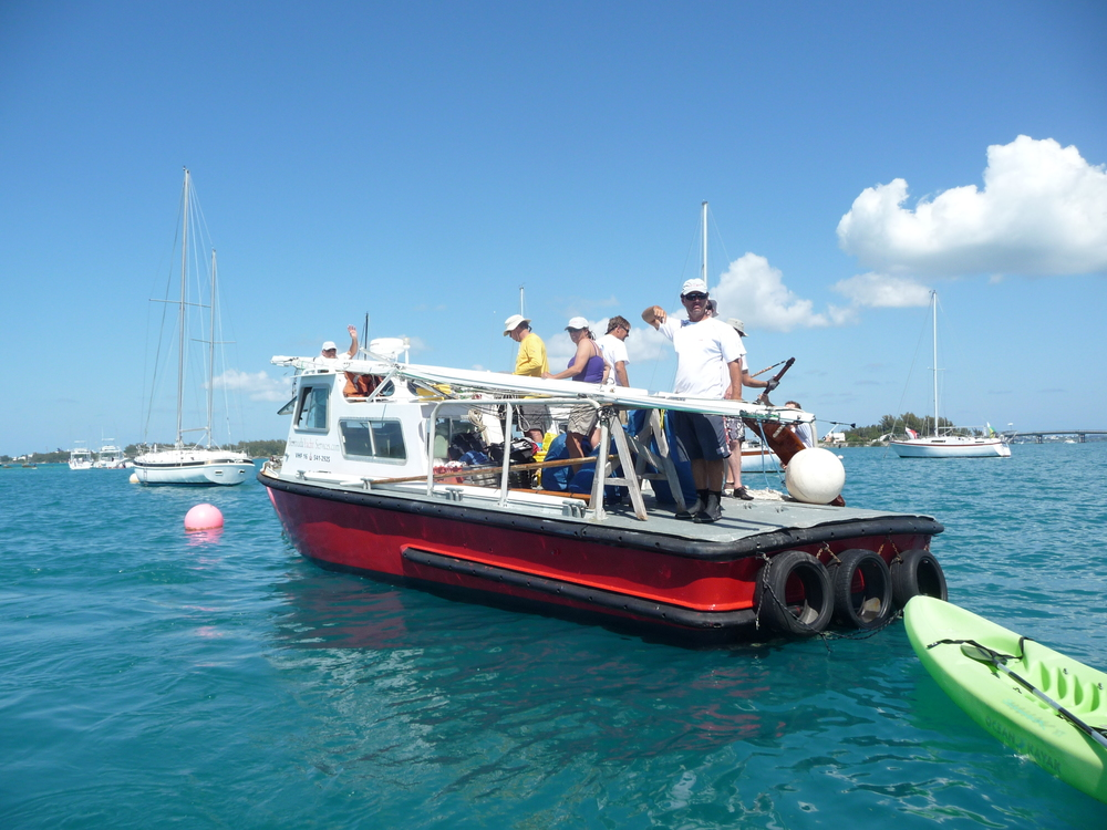Victory IV's support boat with crew ready to come ashore at SBC for some post racing frivolity.