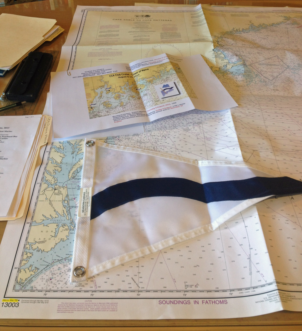 Dan's CCA burgee and a whole lot of paper.