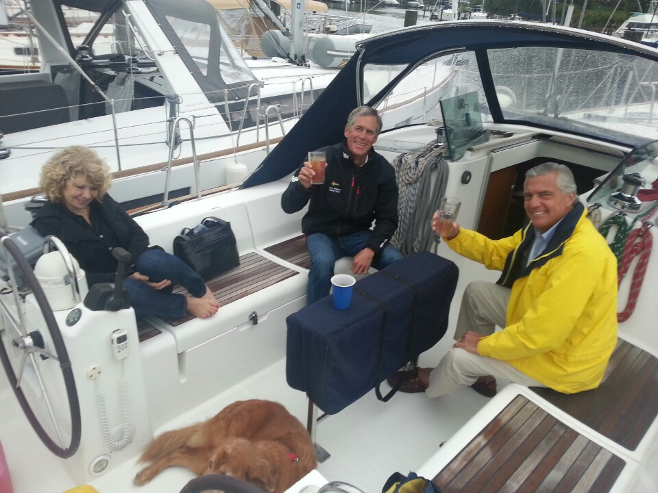 The very last cheer aboard CALIX on a dreary evening with hearty friends and Haydn. 5/8/13