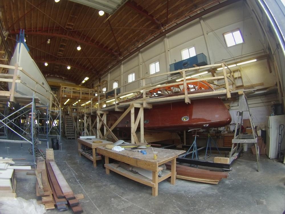 PARDON ME upside down for hull work.
