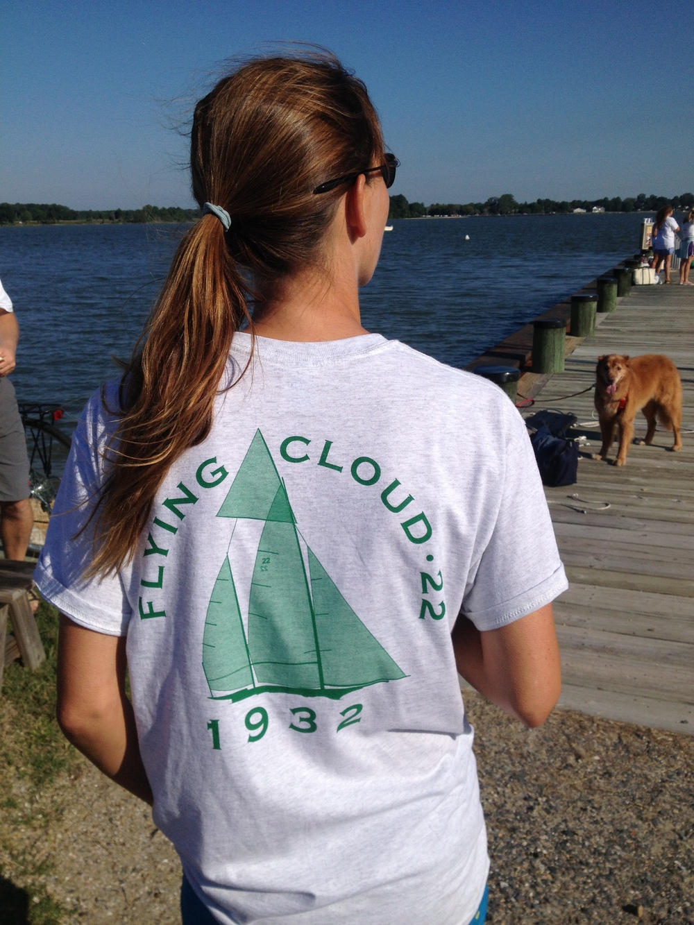 Sporting the new Cloud t-shirt with Haydn chilling on the TAYC dock.