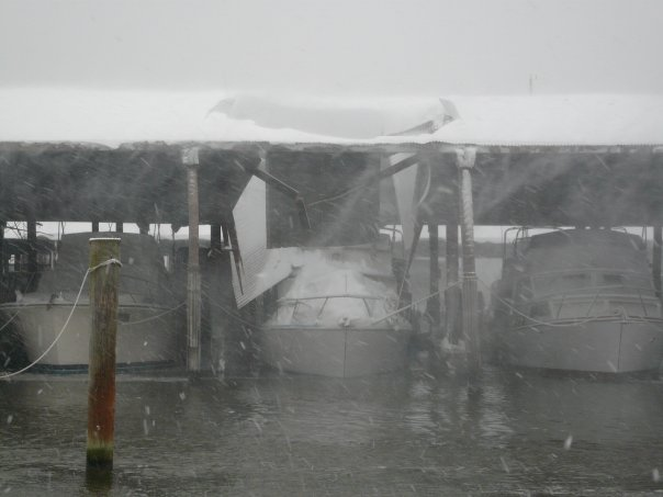 Luckily, this was near the end of the storm and also that there was no serious damage. The owners, live-aboards, were in FL.