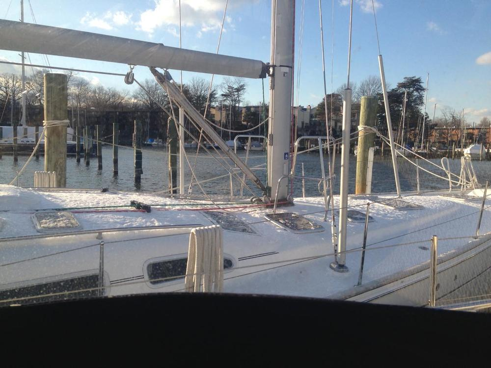 The one coating of snow while at Jabin's in Back Creek, winter 2013, taken by our live-aboard dock neighbor.