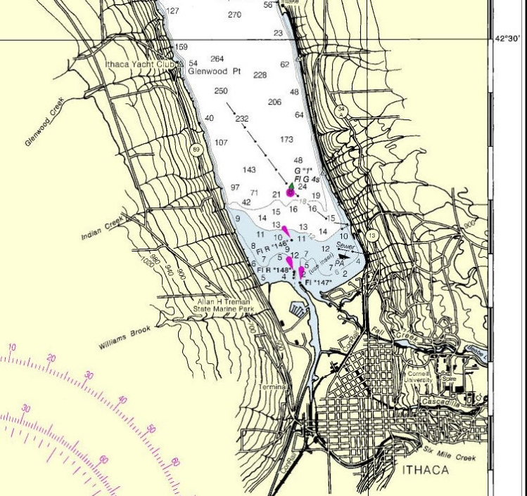 NOAA chart #14791.  Includes our usual destination, Ithaca Yacht Club.