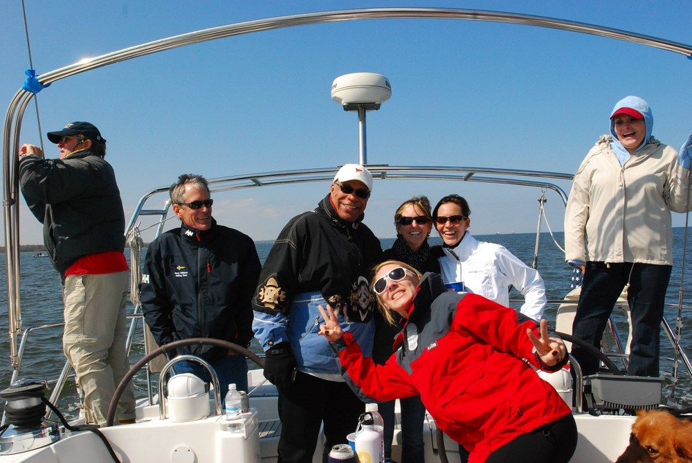 Crazy crew for a delivery across the bay to CALIX's new marina.  4/1/2012